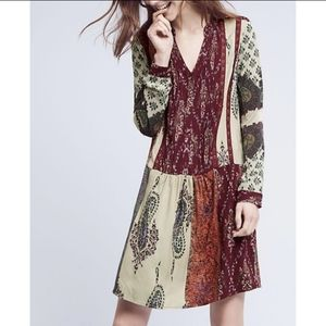 Anthropologie Tiny Patchwork Print Shirtdress XS